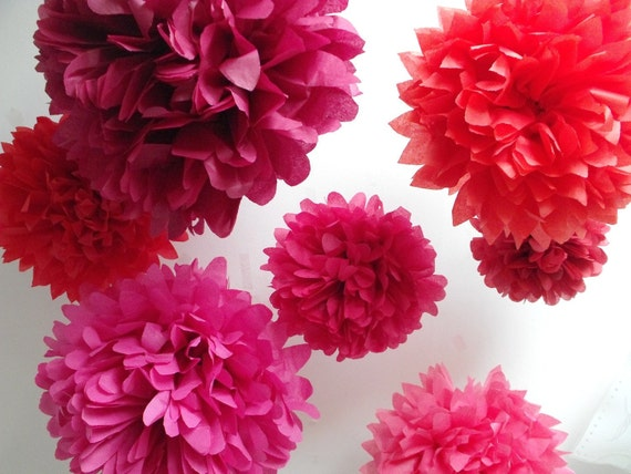 Valentines Day Decorations, Tissue poms, Pink and Burgundy, Claret and Coral, Birthday Party Backdrop