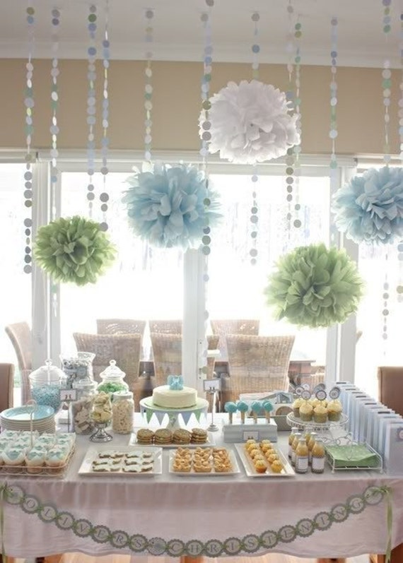 Baby shower Decoration Tissue Paper pompoms and Circle by pomtree