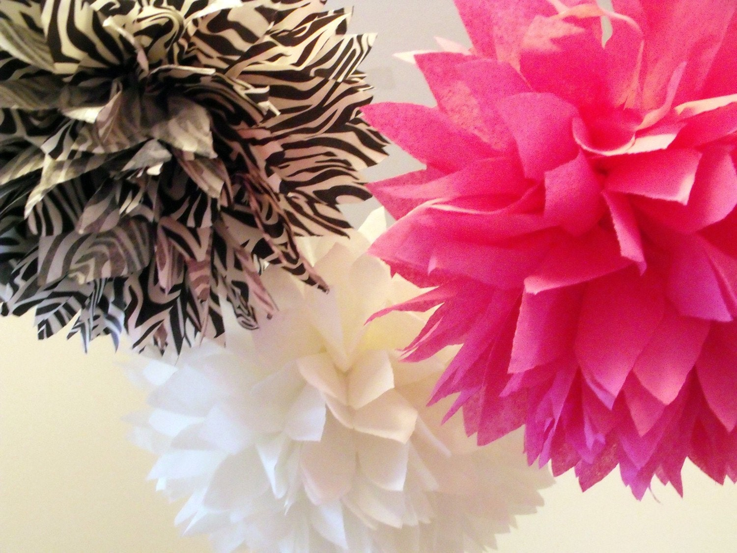 Pink zebra party decorations poms by