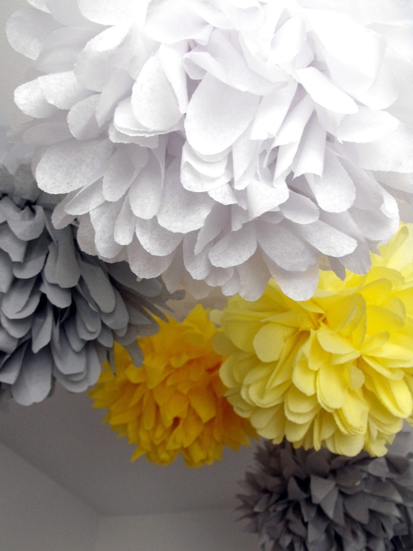 tissue pom poms     5 paper pompoms     when skies are grey