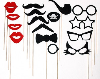 Premium Felt Photo Booth Props Mustache Lips Glasses on a stick - Pirate Eye Patch - Bow Tie - Pipe - Photo Booth Mask Prop for Wedding