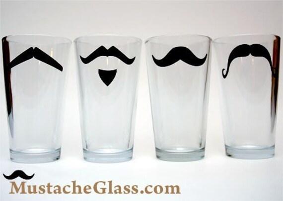 Mustache  Pint Glass Fun Drinking Glassware Bar Ware- 4 Piece Set - MustacheGlass