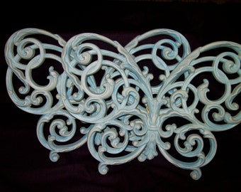 Pair- Vintage Cottage Chic large lacy BUTTERFLIES Plaques, light aqua blue and white Homco Shabby