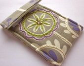 iPhone case - hand embroidered cell phone cozy - iPod case -  mod spring garden in purple and chartreuse- quilt lined slim design sleeve
