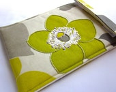 iPad mini - Nook Tablet sleeve Color case Gadget tablet - hand embroidered cover mod chartreuse cream lavender tablet tech