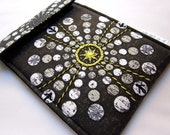 Clearance Tech tablet iPad mini OR kindle fire sleeve OR Nook HD case hand embroidered black, grey, yellow geometric ready to ship gift