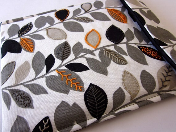 iPad sleeve - iPad 2 case hand embroidered cover - waverly fabric gray black and orange - quilt lined modern slim design