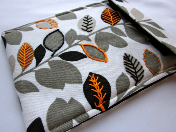 Kindle sleeve - kindle touch case - Gadget tablet cover - hand embroidered original - gray black orange leaves pioneer woman feature