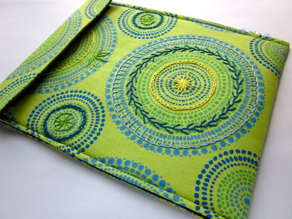 iPad case - hand embroidered iPad 2 cover - lime green, blue and yellow kaleidoscope sleeve - as seen on Pioneer Woman