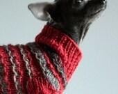 Wintery Smoke Gray Loopy Stripes on Cardinal Red Wool Dog Sweater,  XXS