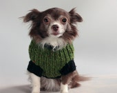 Touch of Ireland-emerald green tweed-Small Dog Sweater with black accents