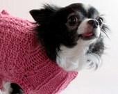 Pretty Pink Ruffled Dog Sweater, size Small, Wool