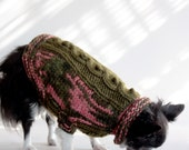 Girls Like Camouflage Too, Dusty Olive Cabled, Small Dog Sweater