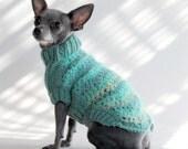 the Miami Aqua Chevron Dog Sweater-XX Small, Holiday Gift Box included