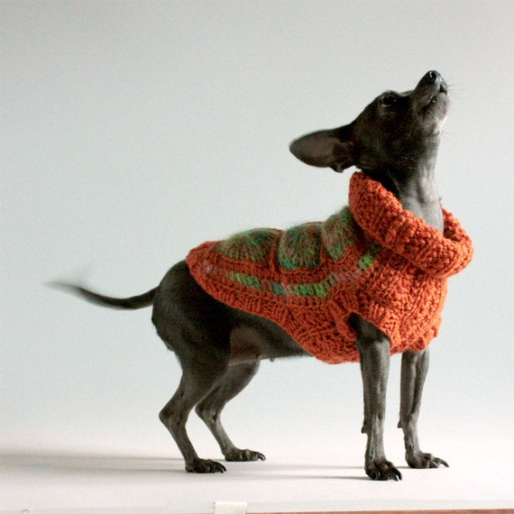 Too hip to be a Granny Square  size XX Small Dog Sweater, burnt orange and lime