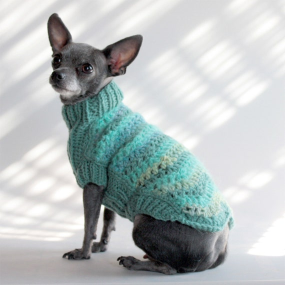 the Miami Aqua Chevron Dog Sweater-XX Small, Holiday Gift Box included