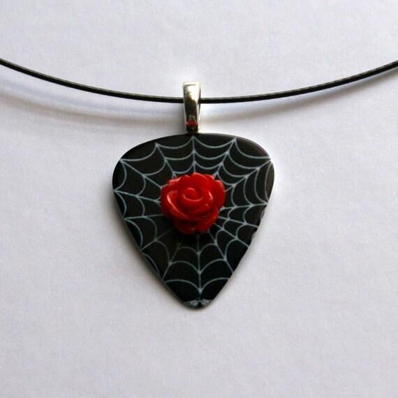 Black Widow Guitar Pick Necklace