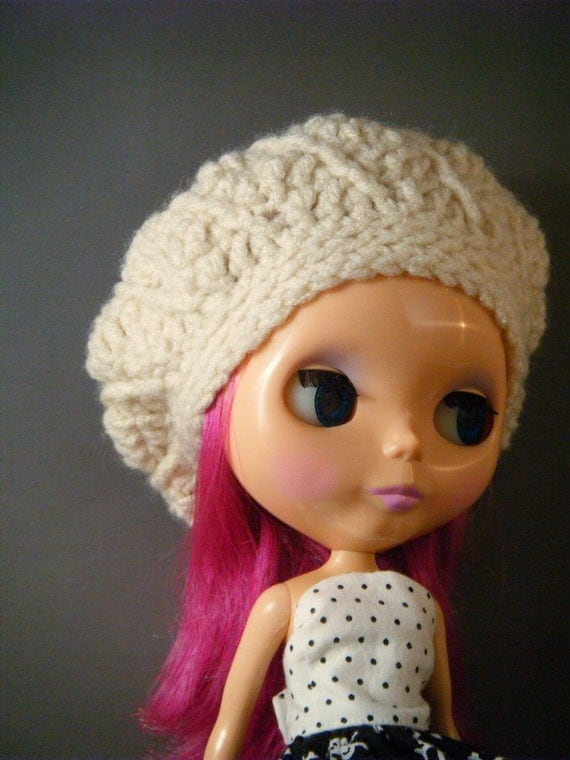 Cream Slouch Hat for Blythe - Ready to Ship