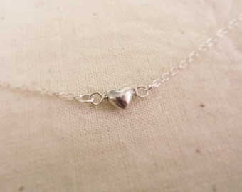 Shy love (necklace) - Tiny sterling silver heart on a dainty chain