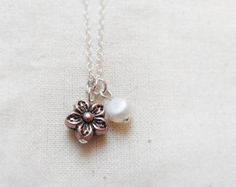 Blossom (necklace) - Small copper Sakura and tiny white pearl