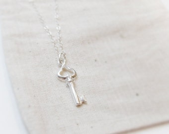 Tiny heart key (necklace) - Petite sterling silver key on a dainty sterling silver chain