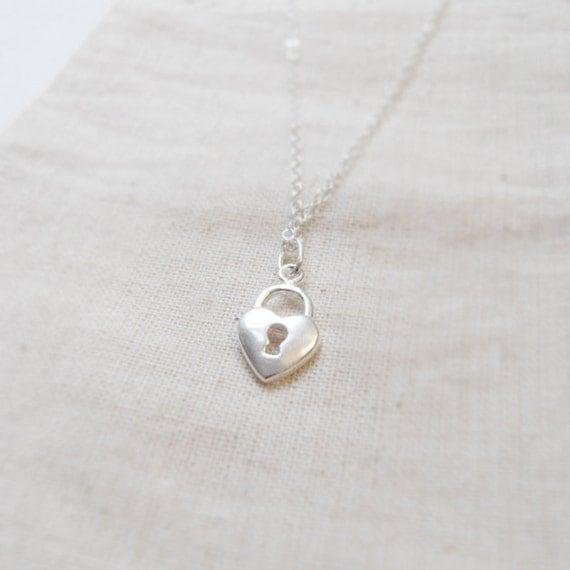 Tiny heart lock (necklace) - Tiny sterling silver charm