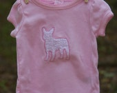 Light Pink T-shirt with Embroidered French Bulldog