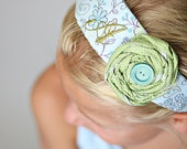 Boutique Monogrammed Blue & Green Floral Baby/Toddler/Children's Headband