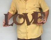 "Love metal wall art sign - 26"" wide - steel metal earth tone patina - choose your color - indoor outdoor metal wall art - rust accents"