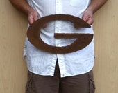 "Green Bay Packers wall art logo - 16"" wide - rust patina - steel ornament metal"