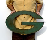 "Green Bay Packers logo 24"" wide metal wall art steel green rust patina"