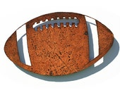 "Football Metal Wall Art - Rust patina - 31"" long football - Indoor Outdoor Metal Art"