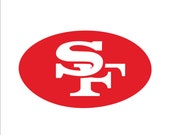 """San Francisco 49ers metal wall art 14"""" wide - white and red with rust patina - indoor outdoor"""