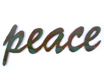 """peace sign wall art metal - 10.5"""" wide - green rust patina steel - choose your color - metal wall art peace on earth world peace be with you"""
