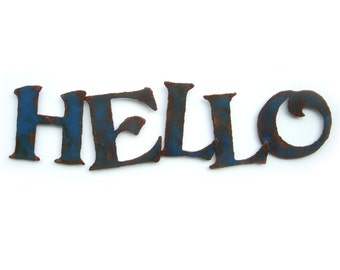 "Hello metal wall art - 22"" wide - metal sign rust patina steel sign - choose your color - hello metal wall art home decor - metal wall art"