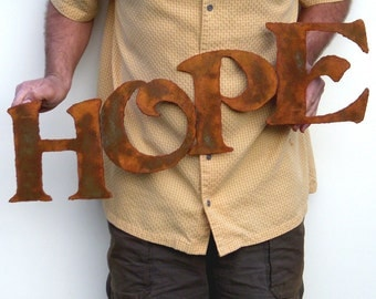 "Hope Metal Wall art 27"" wide sign - choose your color with rust patina - rusted steel sign wall decor - hope metal sign painted rust patina"