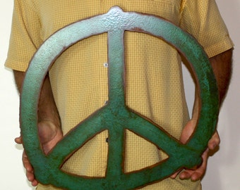 "Peace symbol sign metal wall art - 19.25"" wide - steel wall hanging - green rust - choose your color with rust patina"