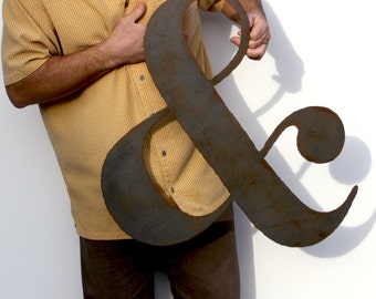 "AMPERSAND metal wall art custom sign 24"" metal symbol steel grey black rust patina - choose color"