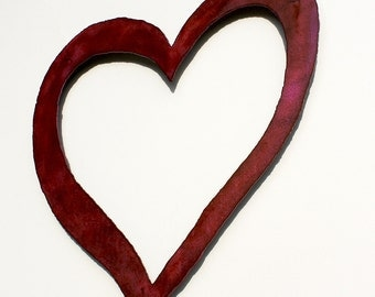 """Pink HEART shabby chic wall art 20"""" wide wedding sign metal heart symbol steel pink rust patina - choose your color"""