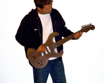 """Guitar metal wall art - 36"""" long - steel earth tone metal patina rust - choose your color - metal guitar art"""