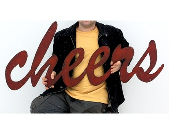 """cheers metal wall art bar sign - 48"""" wide - red with rust patina - steel sign metal sign - choose from 28 colors"""
