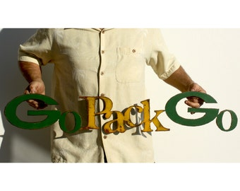 "Packers Go Pack Go logo 37"" wide metal wall art steel green yellow rust patina"