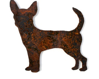 "Chihuahua dog wall art - 15"" tall - rusted steel patina with satin clear sealer"