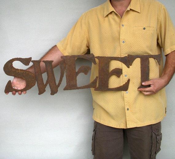 """Sweet metal wall art sign - 34"""" wide - choose your color with rust patina - metal wall art - sweet steel wall art - kitchen art wall art"""