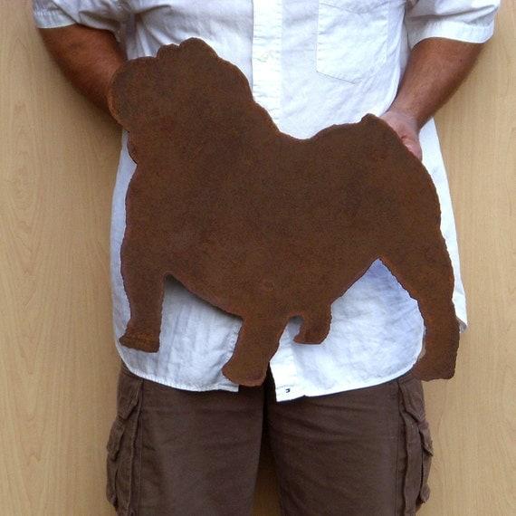 "Bulldog wall art 20"" wide - wall hanging silhouette dog symbol metal steel rust"