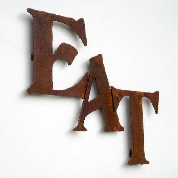 Eat Wall Art Sign Steel Metal 18 Wide Earth Tone Rust