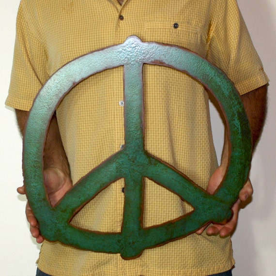 Peace Sign Wall Decor Metal : Peace symbol sign metal wall art wide steel