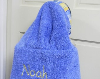 Medium Blue Personalized Hooded Towel/Back View Of Name Placement/Full Size Towel/PresidentMonogram/Gift:BabyShower,Birthday,Pool Party,Bath