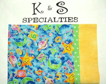 Personalized Monogrammed Pillowcase for Children With a Solar Theme