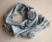 Long Felted Gray Scarf with Roses - 100 % Natural Wool